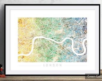 London Map - City Street Map of London England - Art Print Watercolor Illustration Wall Art Home Decor Gift - PRINT in WHITE