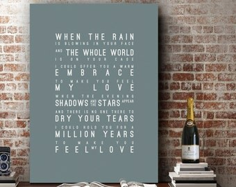 Adele Make You Feel My Love Inspired Lyrics Love Song Bob Dylan Wall Art Home Decor Anniversary Wedding Gift Typography Lyric PRINT