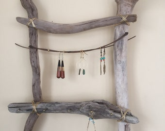 Natural drift wood jewelry display