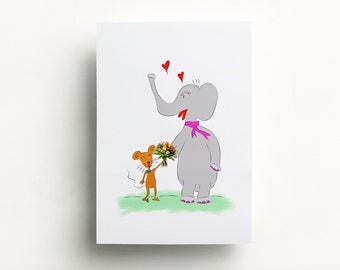 Elephant Love - illustration 30 x 40 cm
