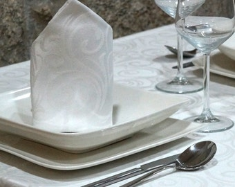 Luxury White Napkins - Anti Stain Proof Resistant - Pack of 6 units - Ref. Lyon