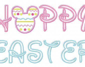 Happy Easter Mouse Head Applique Embroidery Design