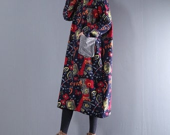 Women winter dresses loose pattern dresses floral warm bottoming dress