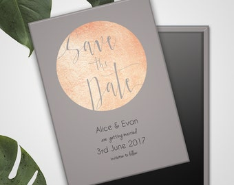 Save the Date Wedding Magnets - Rose Gold