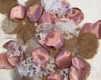 Rose Gold Petals/Pink Rustic Petals/Rustic Wedding Decor/Burlap Rose Petals/Barn Wedding Decor/Dusty Pink Petals/Antique Mauve Petals