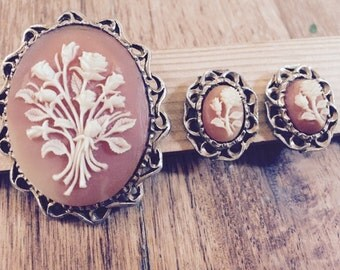 Vintage Soapstone Brooch with matching earrings