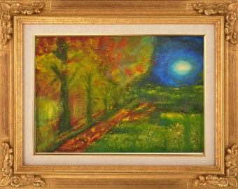 Illuminated Path Way - Hand Made Oil Painting on  11 x 14 inch Canvas Panel