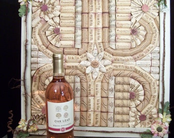 Unique, OOAK, Cottage Chic, Shabby Chic, Boho, Wine Wall Art, Recycled Wine Corks, Distressed Frame, Wine Theme, Wine Gifts, Refurbished