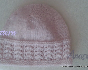 Pattern for spring baby hat .Knitted hat pattern.Knitting pattern PDF