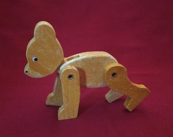 Vintage Poseable Wooden Bear Toy