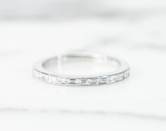 Baguette Diamond Wedding Band/Band ring in Platinum, stacking ring