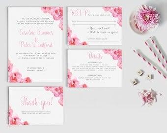 Digital wedding invitation - Printable wedding invitation set - Personalized wedding invitation set - Floral wedding invitation printable