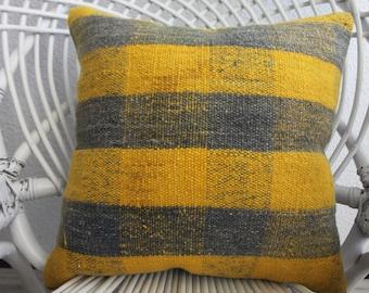 16x16 Natural Pillow Decorative Kilim Pillow Turkish Kilim Pillow Yellow and black Pillow Home Decor Cushion Covers Striped Kilim Pillow 925