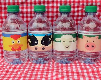 "Farm Animal Water Bottle Wrap Labels sized  8.75"" x 1.75"" for Preschool / Toddler Barnyard Farm 1st Birthday Bash or Party"