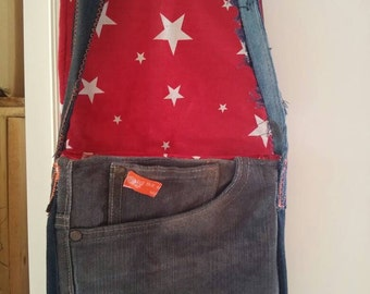 Unique... Upcycling... Jeans bag... 22x20x3cm...ca 100cm long handle.