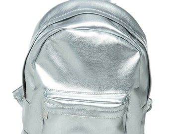 Small silver eco leather leatherette handmade backpack gift / men woman/
