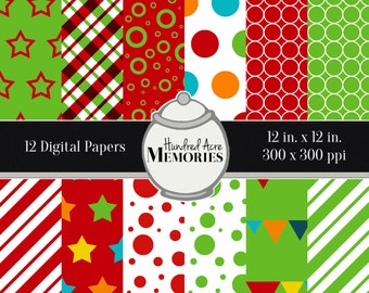 Digital Papers, Primary Reds and Greens, 12 inches x 12 inches, 300 ppi (dpi), Scrapbooking & Craft Papers, Downloadable and Printable