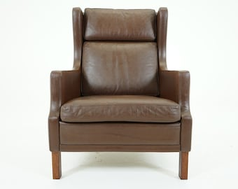 305-183 SALE! Danish Mid Century Modern Brown Leather Lounge Club Chair Armchair