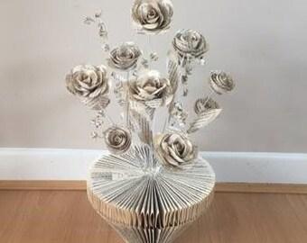 Handmade Paper Plant Pot; Roses - MEDIUM