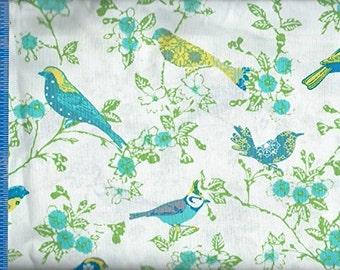 Bird color Aqua Blue, Quilt or Craft Fabric, Fabric