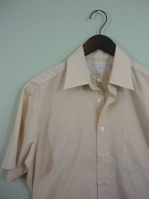1970s Sears Perma Prest Shirt / Light Tan Short Sleeve Button Down / Modern Size Medium M to Large L