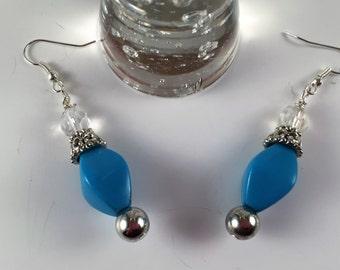 Vintage Look Blue and Silver Earrings