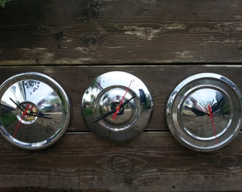 "Vintage 8"" diameter chrome hub cap clock"