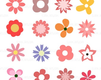 Hand drawn of flower, Flower clip art aet, Weading Clipart, File vector, Files : Eps.10 | Png