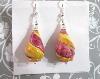 Earrings with multicolored ceramic pinecone