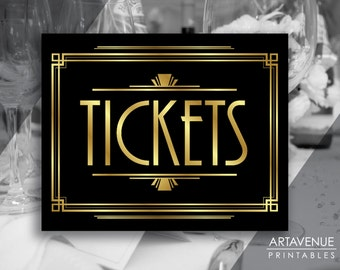 """Art Deco Printable Art - """"TICKETS"""" Gatsby Party Sign - Art Deco Black and Gold digital file - ADBG1"""