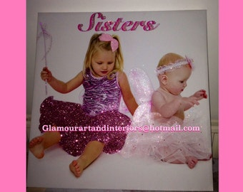 Personalised WallArt Canvas Glitter and Swarovski crystals Sisters