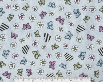 Butterflies on Blue - On Top of the World - Per Yd - Quilting Treasures- Santoro