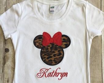Disney Animal Kingdom Shirts/Minnie Leopard Print/Disney Animal Kingdom/Disney Appliqued Minnie