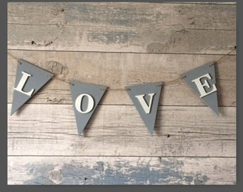 LOVE Wooden Bunting, Home Decor, Wedding Decor, Reception Decor, Wall Decor, Shabby Chic, Cottage Chic, Romantic, Valentines