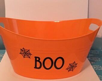 "Halloween Orange Plastic Oval Tub  with ""Boo"" decal"