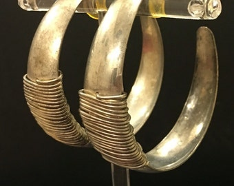 Large Silver & Wire Half Hoop Earrings 5""