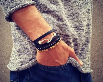 Men's Beach Bracelet, Surfers Jewelry, Black Silicone Bracelet, Beach Bracelets, Masculine Jewelry, Wave Pendant Bracelet, Boho Surf Jewelry