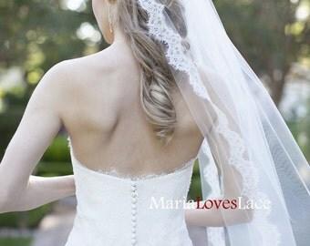 Soft Chapel Lace Wedding Veil-Chantilly Lace Chapel Veil-1 Tier Chapel Veil with Eyelash Lace Trim-Cathedrl Lace Bridal Veil 621