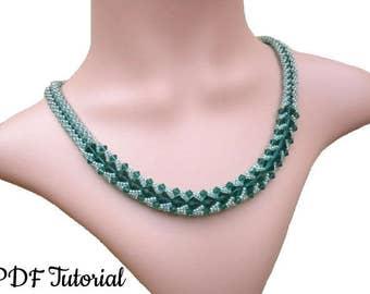 "Crystal Pattern, DIY Necklace, Beading Tutorial, Necklace Pattern, Beadweaving Tutorial, Seed Bead Pattern, Jewelry Tutorial, ""Emerald Glow"""