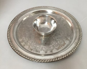 Silver Plate Chip and Dip Serving Dish- Elegant Serving Piece