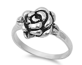 Rose Flower Ring Sterling Silver 11mm (Size 5 - 10)