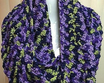 Purple and Navy Blue Scarf, Crochet Scarf, Long Winter Scarf, Infinity Scarf, Crocheted Scarf, Winter Scarf, Gifts for Her, Long Scarf