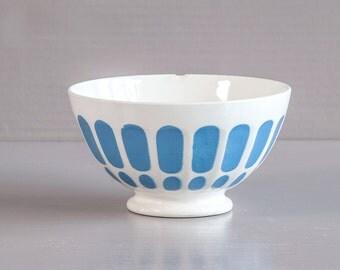 French cafe au lait bowl | Large French Bowl | Digoin Sarreguemines | ribbed Cafe au lait bowl | Blue decor Bowl | French 60's / 70's Bowl.