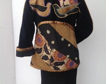 vintage 70s patchwork quilted cotton jacket JEANNE MARC  jacket