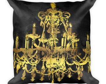 Chandelier, Pillow,Gold pillow, gold chandelier,throw pillow , Gold, black and gold, Gold and black pillow, Contemporary, Pillow,