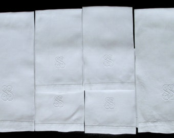 6 ELEGANT ITALIAN TOWELS, large set of vintage white linen damask w huck weave/ 2 large and 4 medium/ Embroidered monogram S.S. hand towels