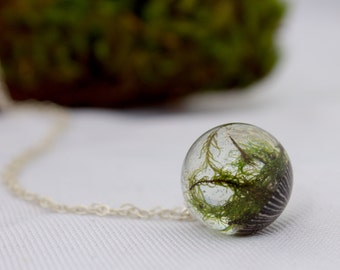 Sterling Silver Moss and Opihi Shell sphere resin necklace-nature inspired-moss orb-terrarium/eco-woodland sphere