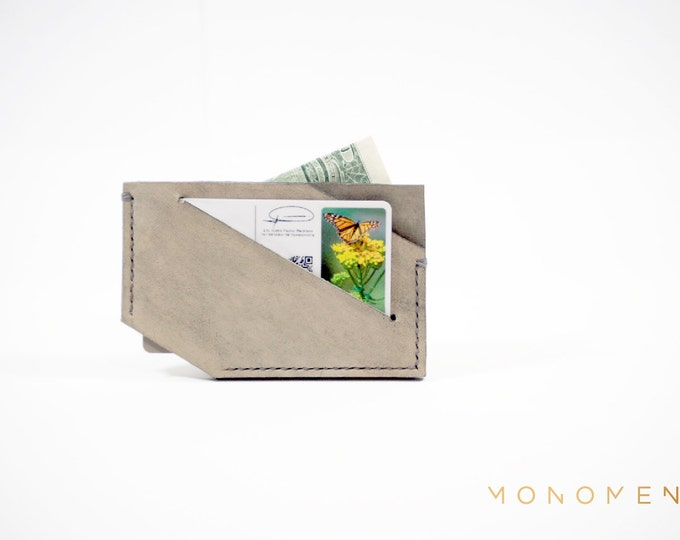 Slim modern wallet / cardholder for women and men. Vegetable tanned leather. Hand stitched. Minimal and functional design