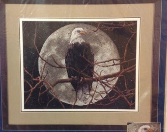 Eagle in Moonlight counted cross stitch kit