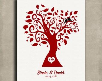 Personalized Valentine Wedding Family Tree Red White Love Birds Tin Sign Gift Girlfriend February Anniversary Custom Metal Art Print #1418